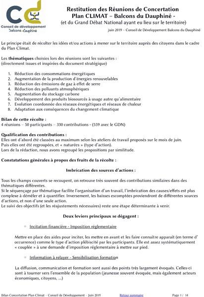 Concertation plan climat Balcons Dauphiné